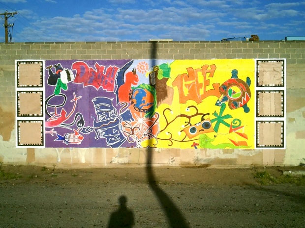 The first interactive AROS mural at Wells Park, Albuquerque, NM.