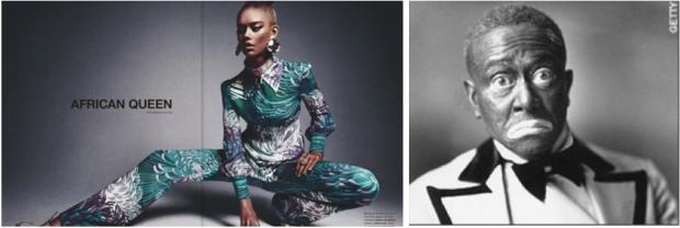 """Left: Numéro magazine's """"African Queen""""; Right: Actor Bert Williams in blackface."""