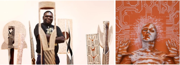 "Left: Gunybi Ganambarr at  at Annandale Galleries (Sydney). Photo by Renee Nowytarger. Source: The Australian; Right: SWARTE. ""The Freedom of Yolngu,"" 2013. Photo by SWARTE."