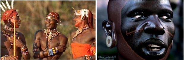 Left: Real Samburu warriors; Right: Image Metric's Samburu avatar.