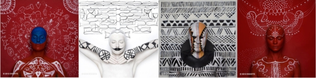 SWARTE. Body painting, drawing and photography inspired by Blackfoot, Ainu, Masai, Mosuo cultures, 2013.