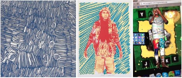 "Left: Nyapanyapa Yunupingu, 'Birrka'mirri', 2012, linocut. Printers: Annie Studd and Ruby Djikarra Alderton; Middle: Mikey Gurruwiwi, 'Ngarra', 2012, screenprint. Printers: Mikey Gurruwiwi and Sean Smith; Right: Yung Jake. ""Augmented Real,"" 2013."