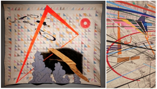 "(Left): Sanford Biggers. ""Untitled,"" 2012. Photo by Nettrice R. Gaskins. Courtesy of the artist;  Figure 3 (Right): Julie Mehretu. ""Grey Space (distractor),"" 2006. Courtesy of the artist."