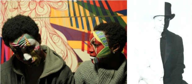 """Left: """"MassQing"""" with artists Daniel Callahan and Destiny Palmer. Courtesy of Destiny Palmer; Right: Hank Willis Thomas. """"Untitled, (Wayfarer series),"""" 2012. Courtesy of the artist."""