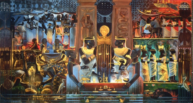 "John Biggers. ""Nubia, the Origins of Business and Finance,"" 1999. Courtesy Olive Theisen."