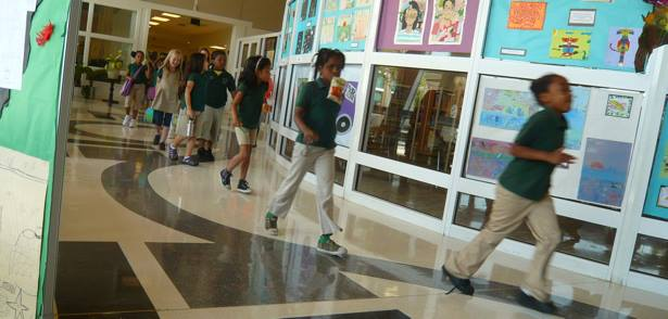 The Drew Charter School lobby during the school year.