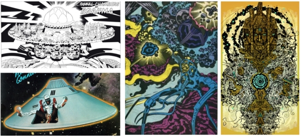 "Jack Kirby's ""The Royal Chambers of Brahma,"" Parliament's ""Mothership Connection,"" Wayne Blackledge's comp & a work by Black Kirby"