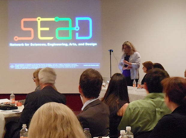 Carol LaFayette talks about SEAD at the Smithsonian Discovery Theater on May 16, 2913. Photo by Nettrice Gaskins.