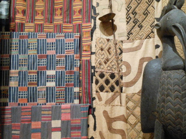 A wall of African textiles in Jerry Thomas's collection. Photo by Nettrice Gaskins.