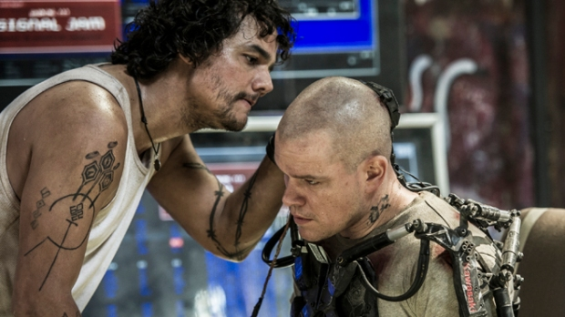 "Wagner Moura (left) and Matt Damon in Columbia Pictures' ""Elysium."""