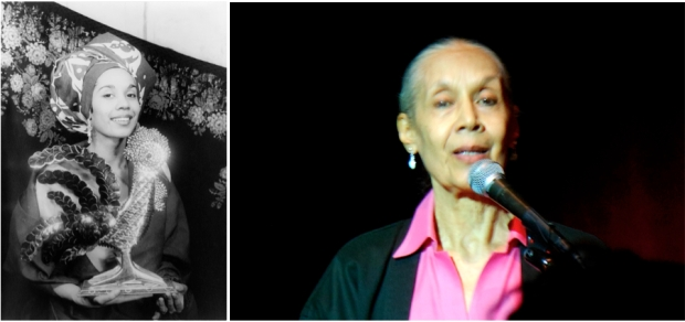 Carmen de Lavallade in 1955 and today (right).