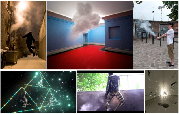 "Sebastian Alvarez. ""Phototaxis (series)""; Berndnaut Smilde, ""Nimbus"", 2012; Katie Patterson. ""100 Billion Suns,"" 2011; Jacolby Satterwhite. ""Reifying Desire,"" 2012; Storyboard P. ""Black Magic,"" 2012. Courtesy Hyacide Magazine; Sanford Biggers. ""Big Ass Bang!!,"" 2004."