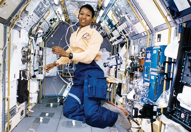 Mae Jemison aboard Endeavour. Credit: NASA Marshall Space Flight Center.